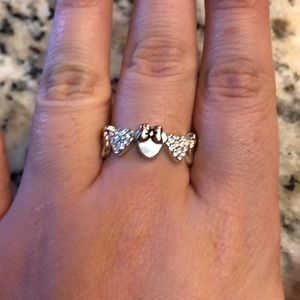 Disney Minnie Mouse silver ring with rose gold bow